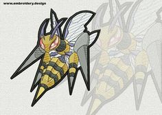 Megabeedrill Pokemon embroidery design – 2 sizes - downloadable by EmbroSoft on Etsy