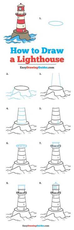 Learn How to Draw a Lighthouse: Easy Step-by-Step Drawing Tutorial for Kids and Beginners. #Lighthouse #DrawingTutorial #EasyDrawing See the full tutorial at https://easydrawingguides.com/how-to-draw-a-lighthouse/.