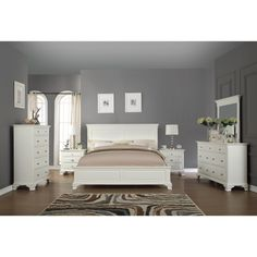 Laveno 012 Bedroom Furniture Set, Includes Bed, Dresser, Mirror, 2 Night  Stands
