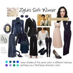 (This is known as Toned Winter in Ferial Zyla's Soft Winter by expressingyourtruth featuring platinum jewellery hire . Winter Typ, Dark Winter, Soft Summer, Rock Chic, David Zyla, Deep Winter Colors, Seasonal Color Analysis, Touch Of Gray, Rocker