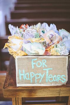 You won't be the only one crying at your wedding; don't forget about your guests' tears of joy, too. A box of delicately embroidered colorful hankies adds a quirky and charming element to your wedding — one that your guests will certainly appreciate.