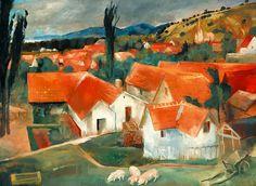 "Istvan Szonyi ""Roofs of Zebegeny"", 1930 (Hungary, Nagybanya Group, cent. City Art, Oil On Canvas, Modern Art, Texture, Hungary, Art Ideas, Paintings, Artists, Group"