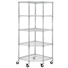 Improvements 5 Shelf Heavy Duty Corner Storage Rack Chrome ($128) ❤ liked on Polyvore featuring home, home improvement, storage & organization and 379284