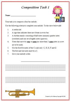 This is a very easy melody writing activity for young or beginning music students in your music classroom.