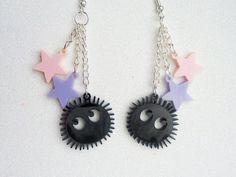 Soot Sprite Earrings: SOOT SPRITES Black Laser Cut Acrylic Studio Ghibli Earrings
