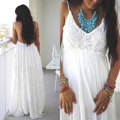 White Maxi & Statement Necklace