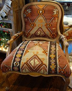 redesigned vintage chair . oversized large . wooden furniture . louis xv french provincial . kilim rug upholstery . FABULOUS in every way!