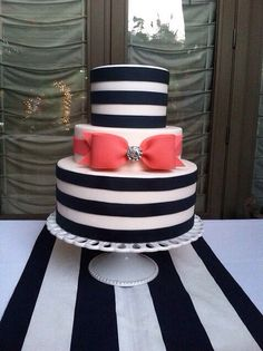 Bow cake instead of black and white have it pink and silver