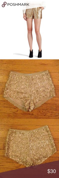 ✨HP✨Blessed are the Meek Gold sequin shorts From Revolve clothing. Waist 28 hips 36 inseam 2.25 fully sequined and fully lined. Blessed Are The Meek Shorts
