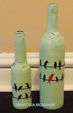 Birds on a wire. Handmade bottles with paper mache and painted by ArtByAmbrosia, $50.00