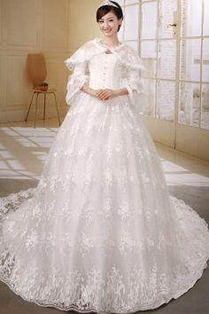 Sweetheart Tulle White Wedding Gowns - Order Link: http://www.thebridalgowns.com/sweetheart-tulle-white-wedding-gowns-tbg0414 - SILHOUETTE: Ball Gown; SLEEVE: Long Sleeves; LENGTH: Cathedral Train; FABRIC: Tulle; EMBELLISHMENTS: Applique , Beading , Bowknot , Crystal , Ruffles , Sequin - Price: 175USD