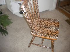 leopard print chair semigloss finish by 216diamond on Etsy, $75.00