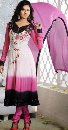 $110.84 Pink Faux Georgette Embroidered Anarkali Salwar Kameez 25170