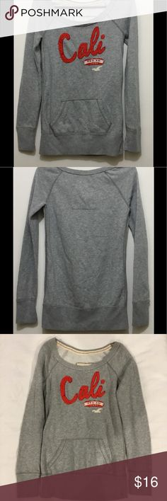 Hollister Grey Long Sleeve Sweater Women Hollister Sweater Color - Grey 60% Cotton 40% Polyester  Small ALL ITEMS ARE USED, PLEASE KEEP THAT IN MIND MONITORS, PHONES AND TABLETS CAN ALL MAKE THE PHOTOS LOOK SLIGHTLY DIFFERENT, WHEN IN DOUBT JUST KINDLY ASK FOR CLARIFICATION. I LIST NEW ITEMS WEEKLY Hollister Sweaters Crew & Scoop Necks