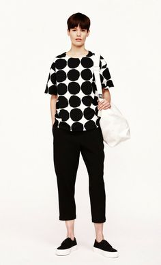 NWT Marimekko Lea Pikkuiset Kivet Black/White Cotton Jersey T-Shirt XL #fashion #clothing #shoes #accessories #womensclothing #tops (ebay link)