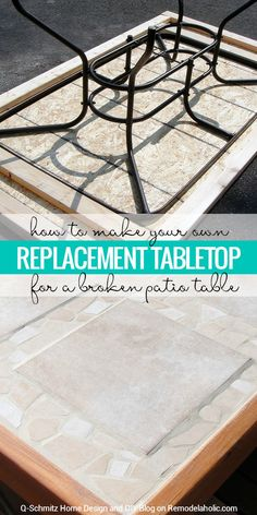 Broken patio table top? No problem! Make your own replacement tabletop with some lumber and tile. Tutorial by Q-Schmitz on Remodelaholic.com. #patiotable #patio #patiotablefix