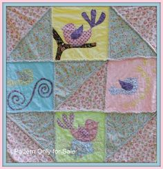 Baby Girl Quilt Pattern, fast and fun quilt as you go Baby Bird Pattern Rag Quilt Patterns, Bird Patterns, Pdf Patterns, Quilting Ideas, Girls Rag Quilt, Girls Quilts, Crib Quilts, Baby Girl Bedding, Baby Girl Quilts