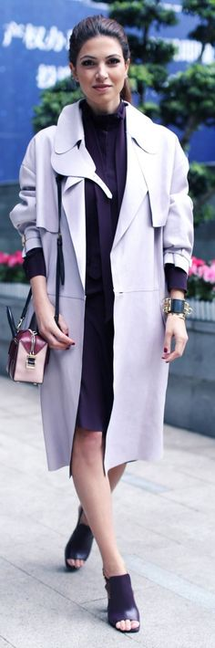 Lilac Fall Trench by Negin Mirsalehi