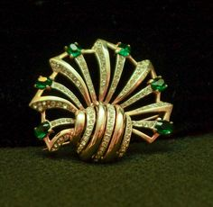 Beautiful Vintage Rhinestone Gold Plated Brooch Pendant by 2BourgeoisHippies on…