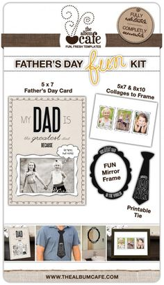 Cute Father's Day Free Photoshop Templates by The Album Cafe.