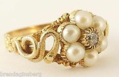 Antique Early Victorian Snake Cluster Ring Gold Diamond Pearls Memorial 5298 | eBay