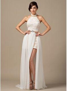 A-Line/Princess Halter Court Train Chiffon Lace Wedding Dress With Beading (002064254) - JJsHouse