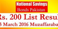 Prize Bond Draw List Rs 200 Muzaffarabad 15 March 2016