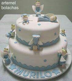 Ideia de bolo para Batizado de menino.