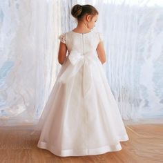 490a0421c36b Lauren Marie Beaded Lace Bodice First Communion Dress (Little Girls   Big  Girls)