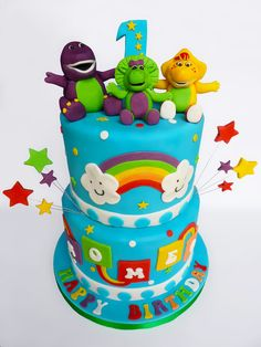 Barney and friends cake - by VanillaIced @ CakesDecor.com - cake decorating website