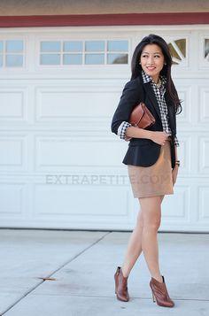 Business casual work outfit: gingham, blazer, camel skirt. I'd go with slacks/skinnies & heels.
