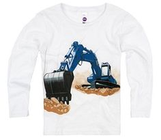 Shirts That Go Little Boys' Long Sleeve Blue Excavator T-Shirt.   This awesome blue construction truck is a perfect addition to a birthday celebration. Kids fashion, boy style and great for kids who love construction and trucks.