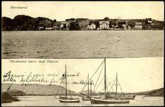 Hordaland HERLØSUND  i Askøy kommun e.. Horisontalt to-delt kort med bebyggelse og båter/Skarvø Utg P.C.Sundheim, NLR Postgått 1915
