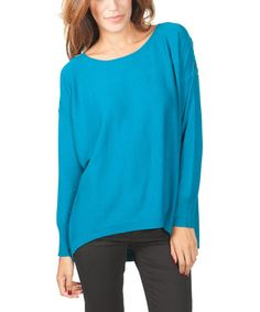 Look what I found on #zulily! Turquoise Crochet-Back Hi-Low Top #zulilyfinds