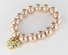 Pink Imitation Pearl Stretch Bracelet by vintagejewelrylane, $16.99