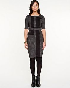 Stretch Brushed Tweed Boat Neck Dress - A contemporary design updates a Ponte knit short-sleeved dress.