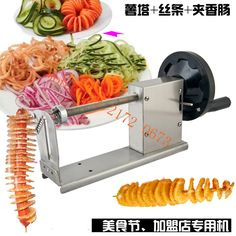 Great to make Curly Fries, Twister Hotdog, Spiral/Tornado/Twister Potato. Makes spiral cut in seconds. Frying the spiral potatoes. Carrot Vegetable, Spiral Potato Slicer, Twist Potato, Spiral Vegetable Cutter, Tornado Potato, Spiral Cutter, Crafts