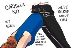 Danny Lawrence doing yoga with (Catmilla)   Carmilla