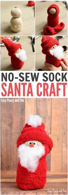 No-Sew Sock Santa Craft para tus pequeños - Manualidades Diy Santa Crafts, Snowman Crafts, Holiday Crafts, Sock Snowman Craft, Handmade Christmas Crafts, Christmas Projects, Kids Christmas, Christmas Gifts, Christmas Decorations