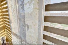 Detalle del tejido técnico y estampado de panel japonés Roman Shades, Curtains, Home Decor, Tejido, Blinds, Decoration Home, Room Decor, Draping, Home Interior Design