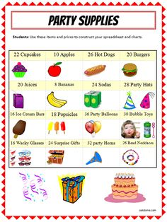Excel Party Supplies List