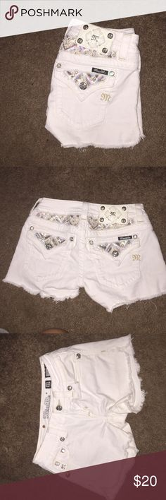White miss me jean shorts Sadly grew out of these.. Good condition, no stains! Size 25 Miss Me Shorts Jean Shorts