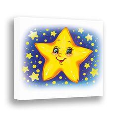 Night Star Nursery Wall Art Canvas Print Baby by PinwheelCanvasArt