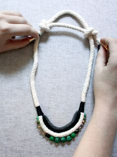 Malachite Rope Necklace - step by step tutorial