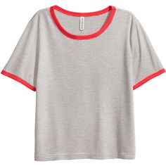 Short T-shirt $9.99 ($9.99) ❤ liked on Polyvore featuring tops, t-shirts, short jersey top, short tees, jersey t shirts, white tee and stripe t shirt