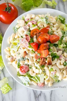 BLT Pasta Salad is a potluck favorite, and loaded with delicious flavors. Tender pasta is tossed with crisp salty bacon, ripe juicytomatoes and crunchy romain(...)