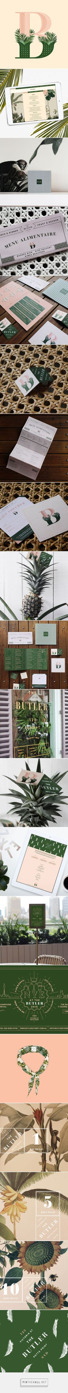 Brand identity inspiration The Butler Potts Point Restaurant Branding and Menu Design by Julia Jacque Brand Identity Design, Corporate Design, Graphic Design Typography, Branding Design, Logo Design, Deco Restaurant, Restaurant Branding, Restaurant Design, Hotel Branding
