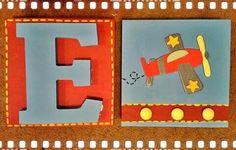 Letras en madera pintadas a mano hecho por Muñecas de Papel