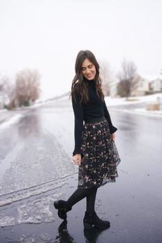 Black Floral Skirt, Winter Outfit