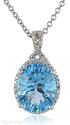 Zales 5.0mm Heart-Shaped Blue Topaz and Diamond Accent Double Heart Lariat Necklace in Sterling Silver - 17.5 h6wSE